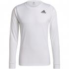 adidas Men's Freelift Long Sleeve Tennis Tee (White/Black) -