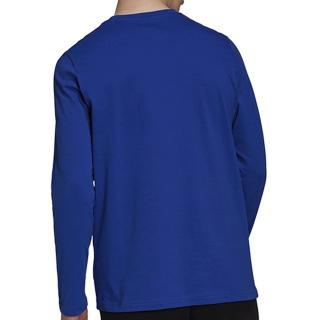 H14624 Adidas Men's Badge of Sport Long Sleeve Tennis Tee (Bold Blue/Black/White)