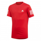 Adidas Men's Club 3 Stripe Tennis Tee (Vivid Red/White) -