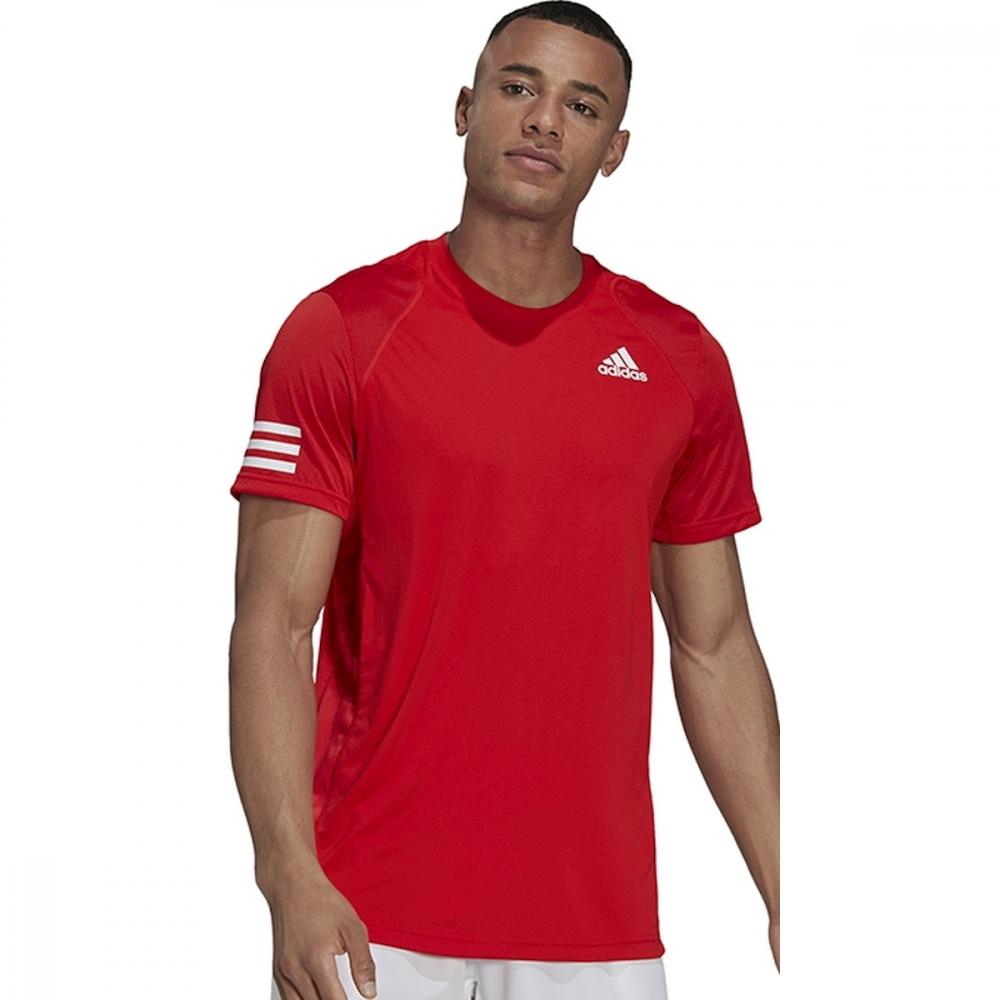 H33751 Adidas Men's Club 3 Stripe Tennis Tee (Vivid Red/White)