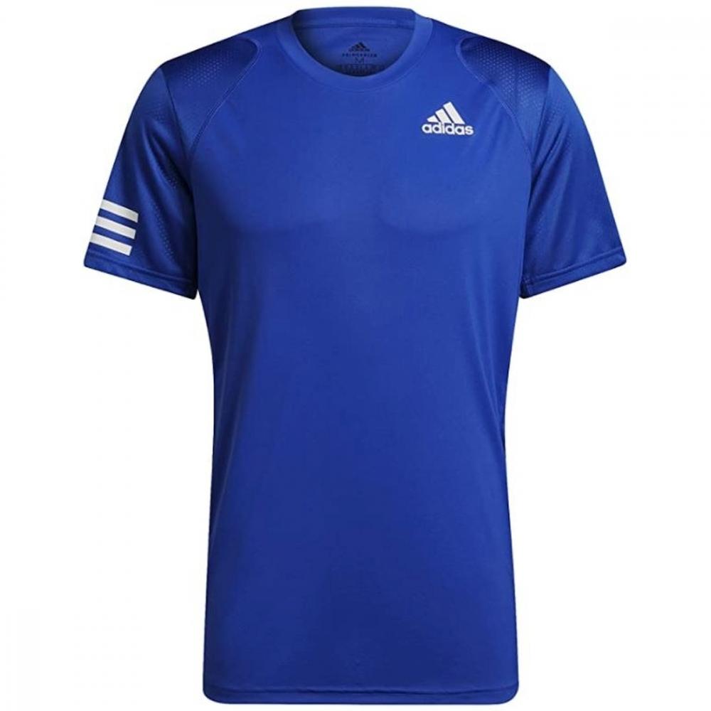 H34690 Adidas Men's Club 3 Stripe Tennis Tee (Bold Blue/White)