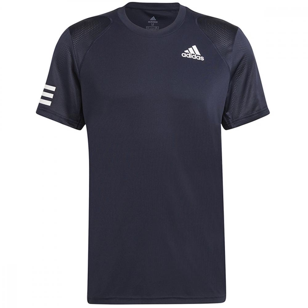 H34691 Adidas Men's Club 3 Stripe Tennis Tee (Legend Ink/White)