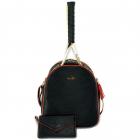 NiceAces Women's HANA 2-Racquet Handmade Vegan Tennis Backpack (Black) -
