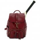 NiceAces Women's SARA Handmade Vegan Tennis Backpack (Maroon) -