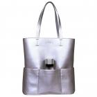SportsChic Women's Vegan Maxi Tennis Tote Bag (Silver) -