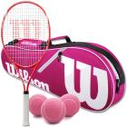 Wilson Envy XP Lite Tennis Racquet Bundled with an Advantage II Tennis Bag and 3 Pink Tennis Balls -