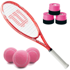 Wilson Envy XP Lite Tennis Racquet Bundled with 3 Overgrips and 3 Pink Tennis Balls -