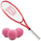 Wilson Envy XP Lite Tennis Racquet Bundled with 3 Pink Tennis Balls -
