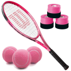 Wilson Burn Pink Girls' Tennis Racquet bundled with 3 Pink Overgrips and a Can of Pink Tennis Balls -