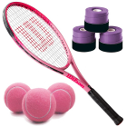 Wilson Burn Pink Girls' Tennis Racquet bundled with 3 Purple Overgrips and a Can of Pink Tennis Balls -