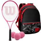 Wilson Burn Pink Girls' Tennis Racquet bundled with a Black Camo Kids' Tennis Backpack & a Can of Pink Tennis Balls -
