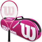 Wilson Burn Pink Junior Tennis Racquet bundled with a Pink/White Advantage II Tennis Bag  -