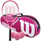 Wilson Burn Pink Junior Tennis Racquet bundled with a Pink/White Advantage II Tennis Bag & a Can of Pink Tennis Balls -
