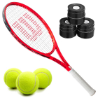 Wilson Roger Federer Junior Tennis Racquet bundled with 3 Black Overgrips and a Can of Tennis Balls -