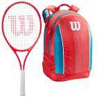Wilson Roger Federer Junior Tennis Racquet bundled with a Coral/Blue/White Kids' Tennis Backpack  -