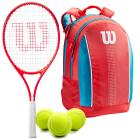 Wilson Roger Federer Junior Tennis Racquet bundled with a Coral/Blue/White Kids' Tennis Backpack & a Can of Tennis Balls -