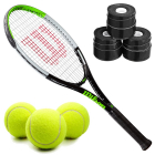Wilson Blade Feel Junior Tennis Racquet bundled with a 3 Pack of Black Overgrips and a Can of Tennis Balls -