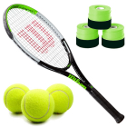 Wilson Blade Feel Junior Tennis Racquet bundled with a 3 Pack of Green Overgrips and a Can of Tennis Balls -