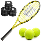 Wilson Minions Kids' Tennis Racquet bundled with 3 Black Overgrips and a Can of Tennis Balls -