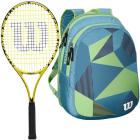 Wilson Minions Kids Tennis Racquet bundled with a Blue/Green Junior Backpack -