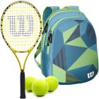 Wilson Minions Kids Tennis Racquet bundled with a Blue/Green Junior Backpack & Tennis Balls -