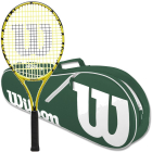Wilson Minions Kids Tennis Racquet bundled with a Green/White Advantage II Tennis Bag -
