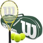 Wilson Minions Kids Tennis Racquet bundled with a Green/White Advantage II Tennis Bag & a Can of Tennis Balls -