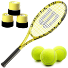 Wilson Minions Kids' Tennis Racquet bundled with 3 Yellow Overgrips and a Can of Tennis Balls -