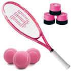 Wilson Serena Pro Lite Tennis Racquet Bundled with 3 Overgrips and 3 Pink Tennis Balls -