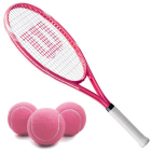 Wilson Serena Pro Lite Tennis Racquet Bundled with 3 Pink Tennis Balls -