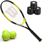 Wilson Energy XL Tennis Racquet Bundled with 3 Overgrips and 3 Tennis Balls -