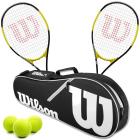Wilson Energy XL Tennis Racquet Doubles Bundle w an Advantage II Tennis Bag and 3 Tennis Balls -