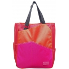 Maggie Mather Three Tone Tennis Tote (Org/ Red/ Fuc) - Three Tone Totes