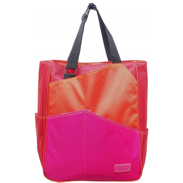 Maggie Mather Three Tone Tennis Tote orange red fucia
