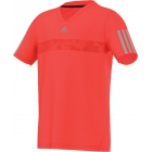 Adidas Boys Barricade V-Neck Tee (Solar Red/ Grey) - Boy's Tennis Apparel