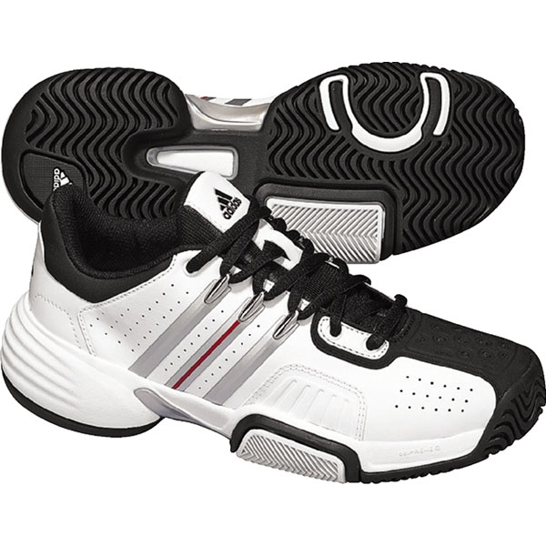 Adidas Barricade Team Junior Tennis Shoes (White/ Black)