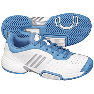 Adidas Barricade Team Womens Tennis Shoes (White/Blu/ Gry)
