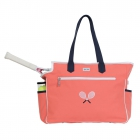 Ame & Lulu Kensington Crossed Racquet Tennis Court Bag (Coral/Navy) - Brands