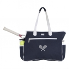 Ame & Lulu Kensington Crossed Racquet Tennis Court Bag (Navy/White) - New Tennis Bags