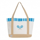 Ame & Lulu Ticking Stripe Tennis Lovers Tote Bag - Ame & Lulu Tennis Lovers Tote