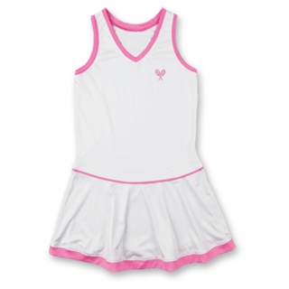 Little Miss Tennis Flared Sleeveless Dress (Wht/Pnk)