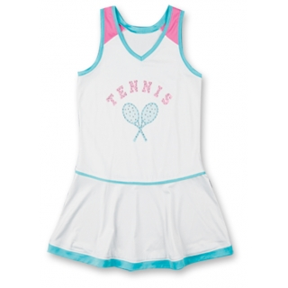 Little Miss Tennis Flared Sleeveless Dress (Aqua/ Wht/ Pnk)