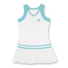 Little Miss Tennis Pleated Sleeveless Dress (White/ Aqua) - Girls's Tennis Apparel