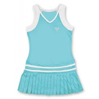 Little Miss Tennis Pleated Sleeveless Dress (Aqua/ White)