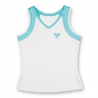 Little Miss Tennis V-Neck Tank (White/ Aqua) - Girls's Tennis Apparel