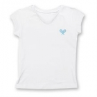 Little Miss Tennis Classic V-Neck Top (White/ Aqua) - Girls's Tennis Apparel