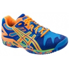 Asics Men's Gel Resolution 5 Shoes (Blue/ Orange/ Yellow) - Asics Tennis Shoes
