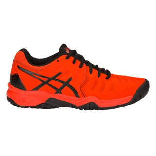 Asics Junior Gel Resolution 7 GS Tennis Shoes (Cherry Tomato/Black)