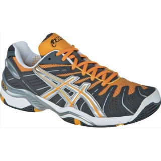 Asics Men's GEL-Resolution 4 Tennis Shoes (Gry/ Org/ Sil)