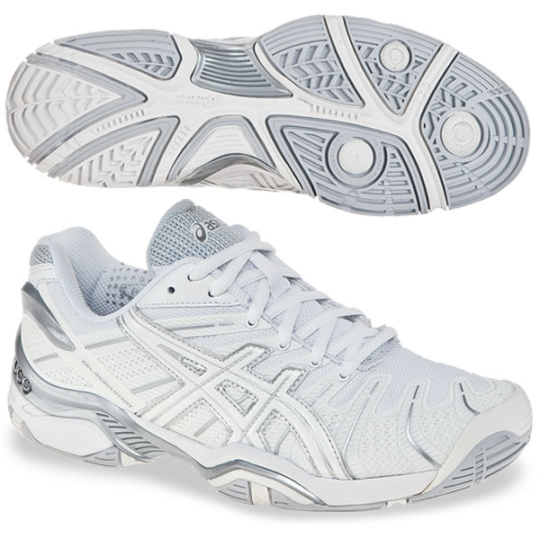Asics Women's GEL-Resolution 4 Tennis Shoes (Wht/ Sil)